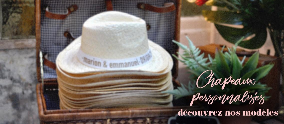 Lot de chapeaux de paille à offrir aux invités de votre mariage champêtre avec ou sans ruban personnalisé