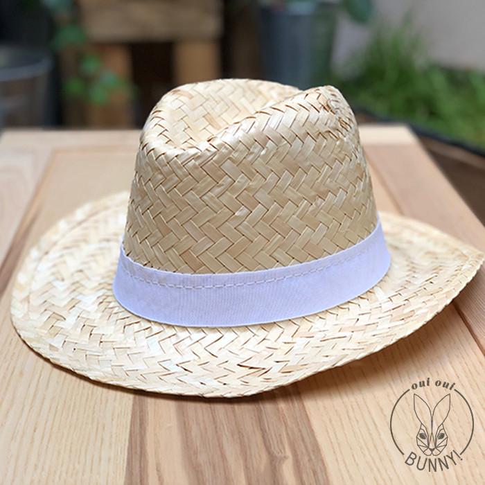Chapeau Capri blanc avec Ruban blanc cousu