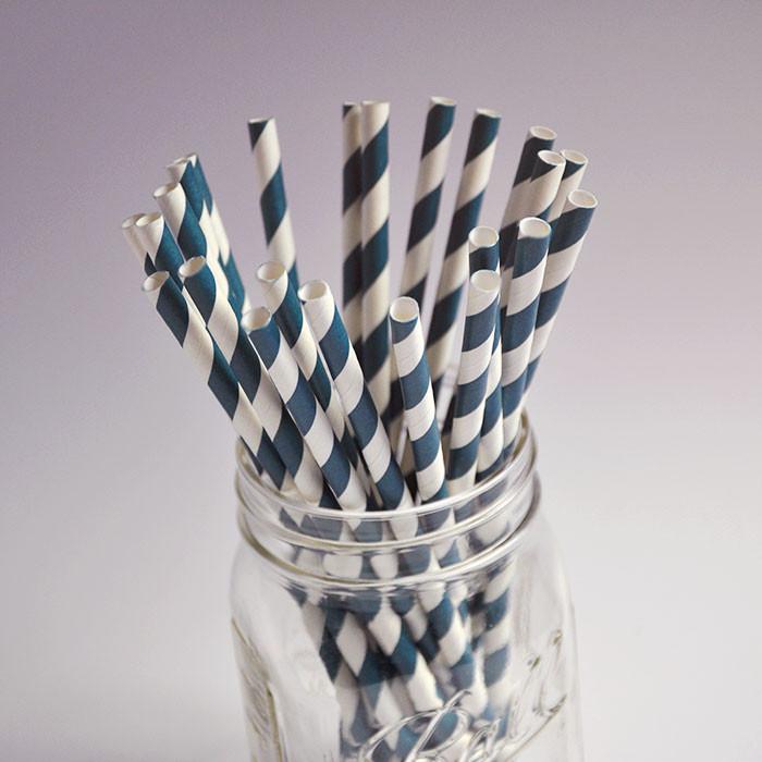 Pailles en papier - Couleur Bleu Foncé