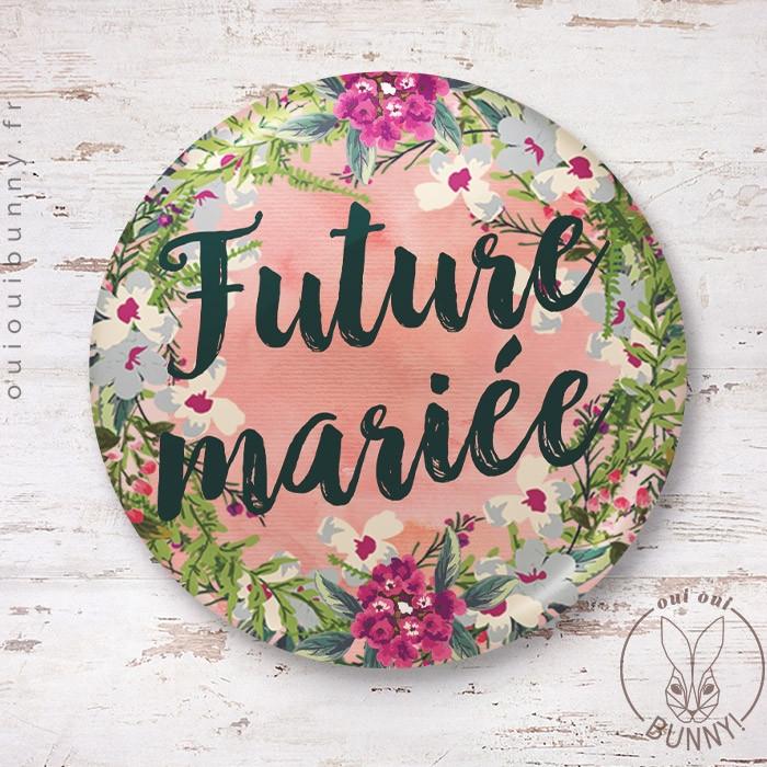 Badge épingle EVJF Fleuri pour Future Mariée