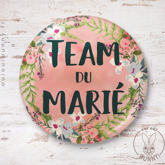 Badge épingle Fleuri Team du Marié