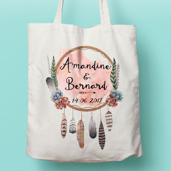 Tote-Bag Bohème personnalisé, sac pour le shopping modèle pour mariage ou EVJF