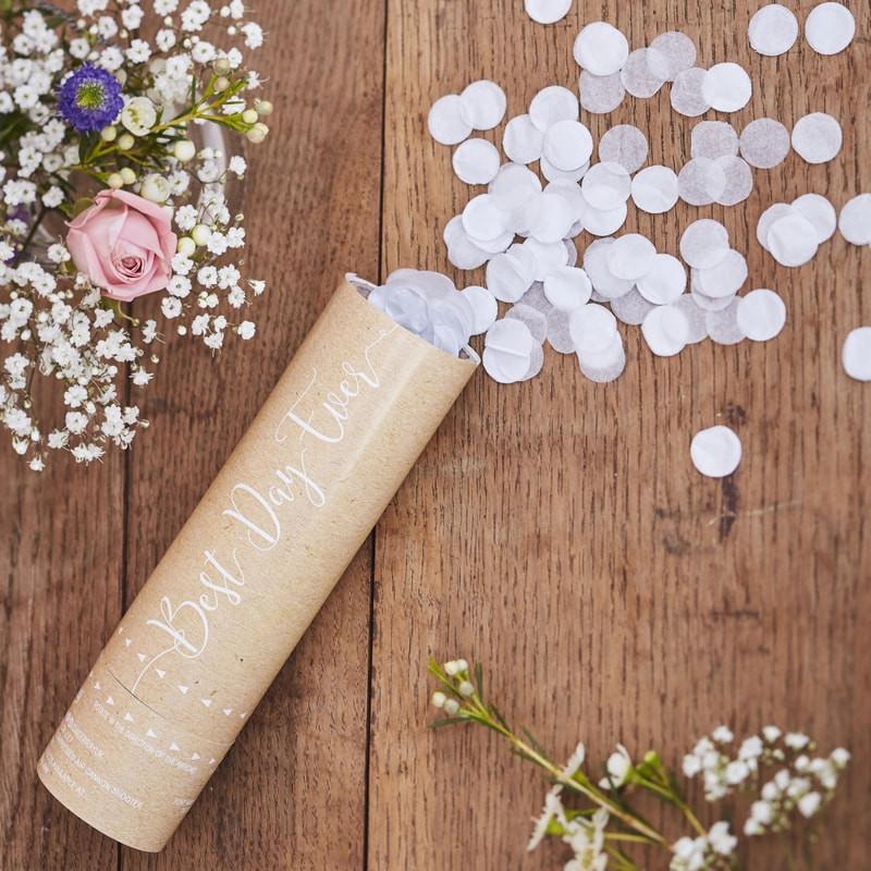 Petit Canon à Confettis Blancs, à air comprimé, pour mariage ou fête