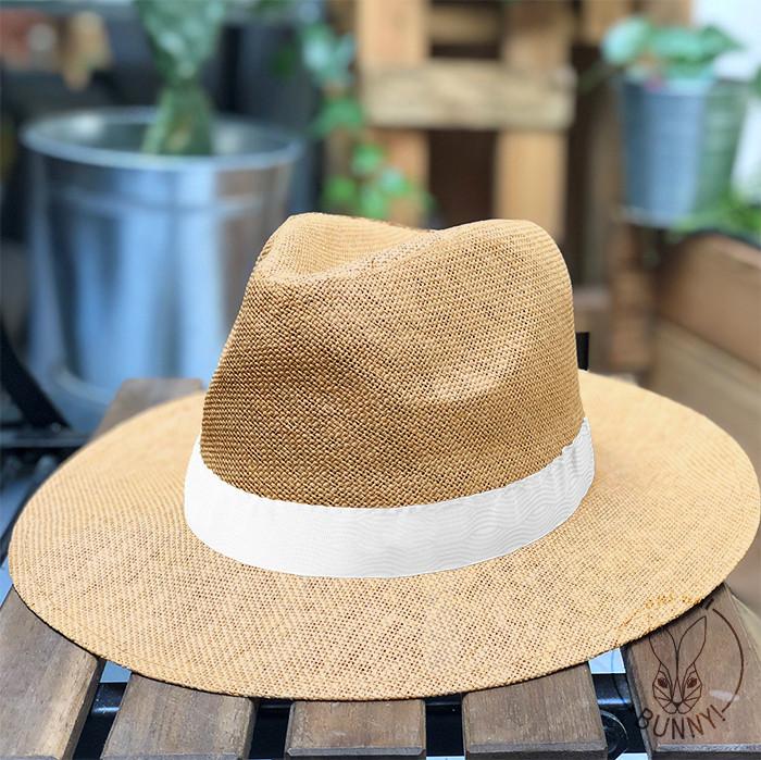 Chapeau Cuba camel avec Bandeau Blanc
