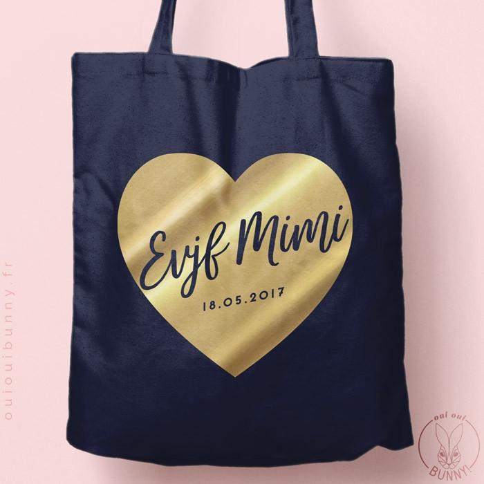 Tote-Bag Cœur EVJF personnalisé Coloré