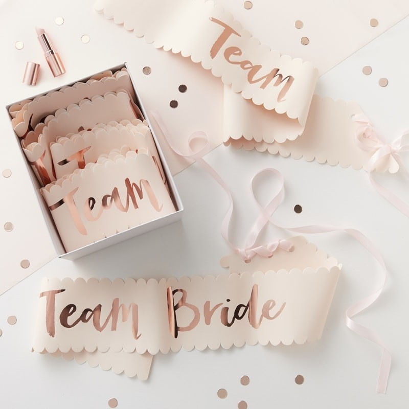 Lot de 6 Echarpes en papier Team Bride en rose cuivré