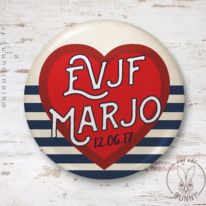 Badge EVJF Marin personnalisé avec cœur rouge