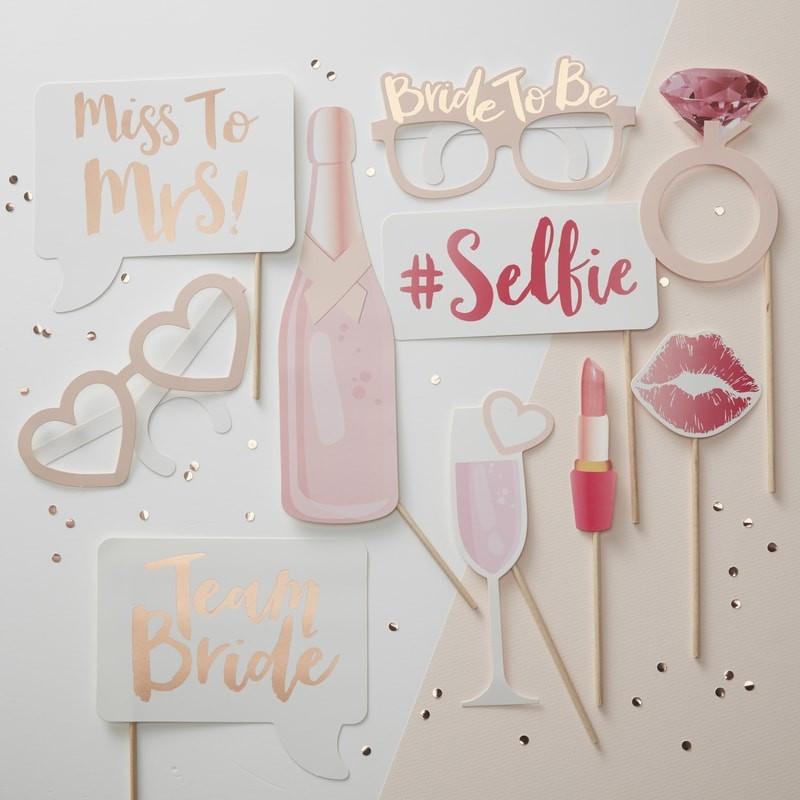Kit Photobooth Team Bride 10 accessoires en carton avec bâtonnet en bois