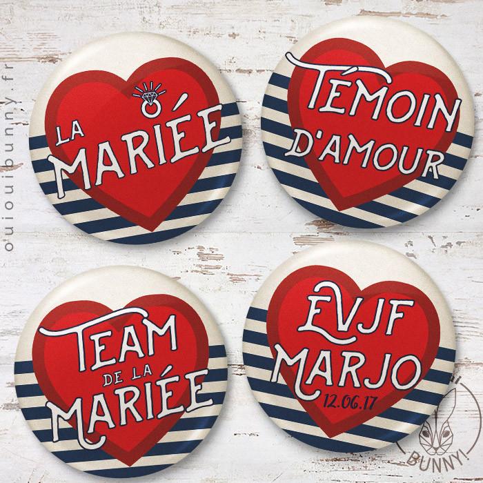 Kit de badges EVJF Marin version française