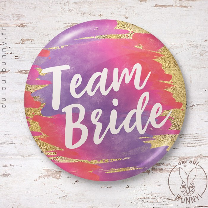 Badge aquarelle sunset Team Bride