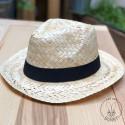 Chapeau Capri en paille blanche avec bandeau Noir