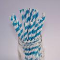 Pailles en papier, turquoise à rayures