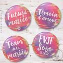 Kit de Badges EVJF Aquarelle Sunset