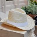 Chapeau Panama avec bandeau Blanc cousu