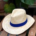 Chapeau Panama avec bandeau Bleu Royal cousu