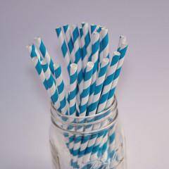 Pailles en papier blanches avec rayures turquoise