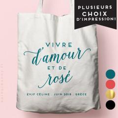 """ote-Bag """"Vive d'Amour et de Rosé"""" personnalisé Ecru, écriture couleur Bleu canard, avec pastilles"""