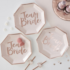 Assiettes Team Bride rose avec inscription Cuivrée (rose gold)