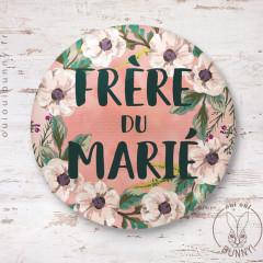 Badge épingle Fleuri Frère du Marié