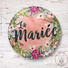 Badge épingle EVJF Fleuri pour La Mariée