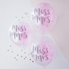 Ballons Miss to Mrs avec confettis roses à l'intérieur, spécial EVJF