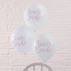 Ballons en latex Team Bride blancs avec marquage rose