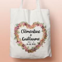 Tote Bag Cœur fleuri personnalisé, sac pour le shopping modèle pour mariage ou EVJF