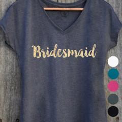 T-shirt Bridesmaid avec différents choix de couleurs de tissu et d'écriture