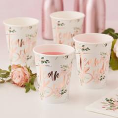 Gobelets en carton fleuri Team Bride en rose cuivré