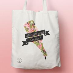 Tote-Bag Mariée dans l'année fleuri - Sacs shopping pour mariage style bouteille vide fleurie