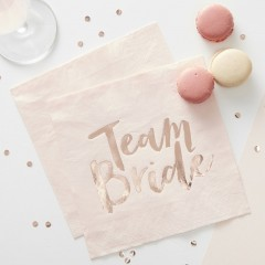 Serviettes Team Bride roses avec marquage en dorure à chaud
