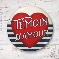 Badge Marin Témoin d'Amour