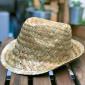 Nouveau Chapeau Trilby en paille naturelle